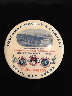 Toberman-Mackey & Co. Celluloid Advertising Mirror; Red Comb Feed, Poultry