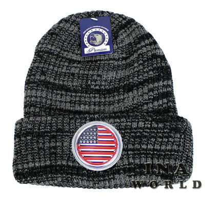 USA Flag Cuffed Pom Knit Beanie Stars Stripes Old Glory Cuff Skull Cap Hat NWT