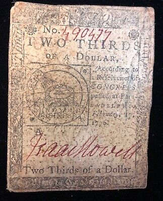 Two Thirds Dollar February 17, 1776 Continental Currency Note Fugio (A) Cc-22