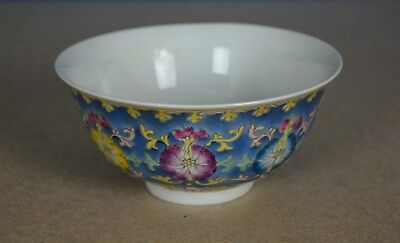 Fine Antique Chinese Famille Rose Porcelain Bowl Marked Qianlong Rare H2989
