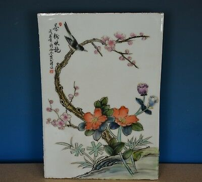 Antique Chinese Porcelain Plaque Famille Rose Marked Master Liu Yucen H8392