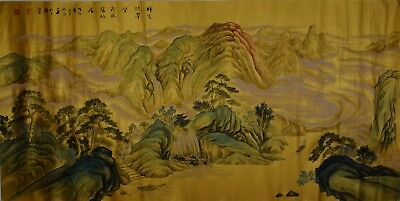Ultra Rare Large Chinese Painting Signed Master Wang Jingzhao Gold Foiled Paper