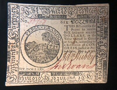 $6 Six Dollars May 9, 1776  Continental Currency Note Cc-36