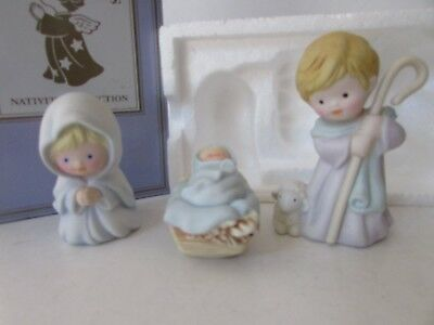 "Avon 1986 Heavenly Blessings Nativity Figurines The Holiday Family 3 Pc  3"" Nib"