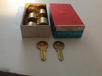 Box of 50.Junkun American.brass number PTKB key blanks from old locksmith shop