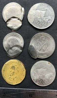 World coins with production dies malfunctions, defects, lot of 6 different