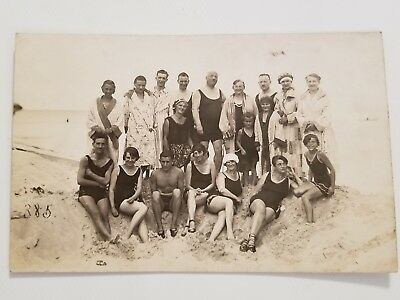 Vintage Antique Real Photo Postcard German Swimmers Bathing Suits Group