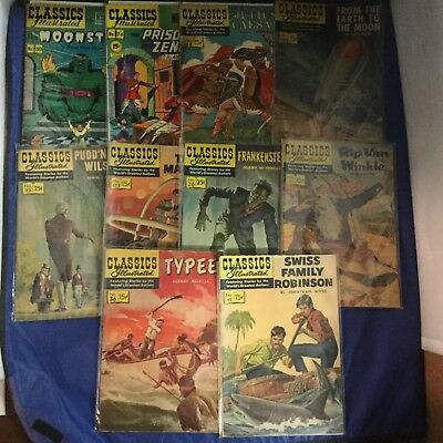 Classics Illustrated Comics 10 Issue Lot - Vintage RARE - Gilberton Lot L