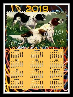 "2019 DOG CALENDAR MAGNET - Pointer - Setter Hunting Dogs) - SIZE 8""X10"""