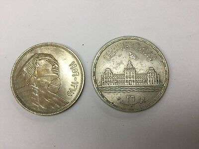 Egypt 1956 (1375AH) 20 & 25 Piastres. Two Large Silver Coins, Excellent
