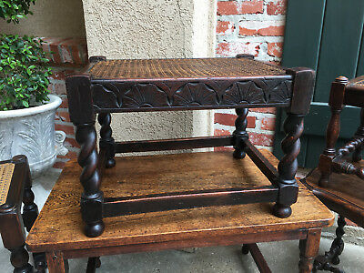 Superior Antique English Carved Oak BARLEY TWIST Bench Stool Cane Woven Display Table