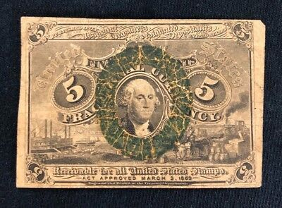 US 1863 5 CENT FRACTIONAL POSTAGE CURRENCY PAPER MONEY Fr 1233