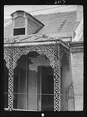 Upper level balcony,wrought iron,St Peter Street,New Orleans,LA,A Genthe,1920 1