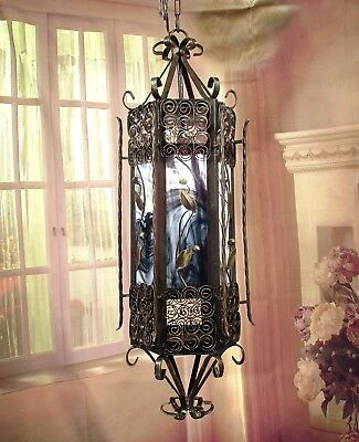 Antique Vintage Chandelier Lantern Pendant Slag Glass Scroll Work  Fixture Lamp