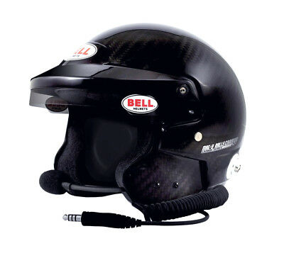 BELL HELMET MAG-9 CARBON BLACK OPEN FACE RALLY FIA SNELL FIA (With Intercom)
