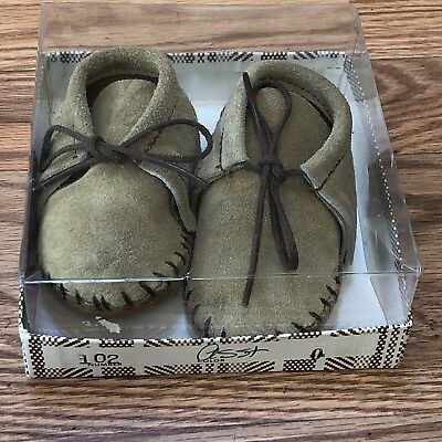 Vintage Leather Indian Maid Baby Moccasins W/ Fringe Taos New NIB Size 0