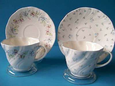 """2 Sets Rosina Queens Cup &  Saucer Floral """"claire"""" & """"louise"""" Fine Bone China"""