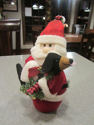 Santa Claus Holding Black & Tan Dachshund Standing Christmas Decor!