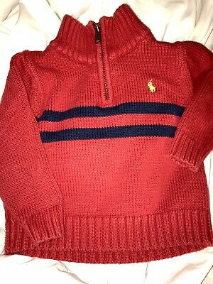 POLO RALPH LAUREN Boys Red 1/4 Zip Pullover Sweater Size 2T Exc Cond!