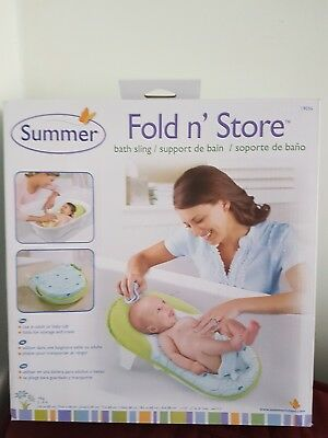 Summer Infant FOLD'N'STORE TUB TIME BABY SLING Bath Support Green/Blue BN