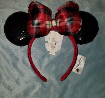 Disney Parks 2018 Christmas Holiday Red Black Plaid Minnie Ears Headband