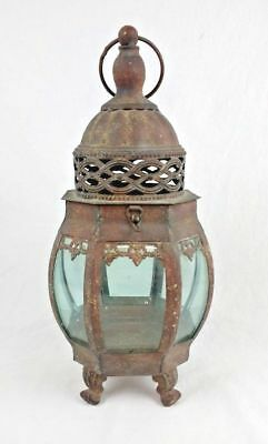 Retro Hanging Metal Lamp Candle Glass Victorian Weathered Home Decor Gothic