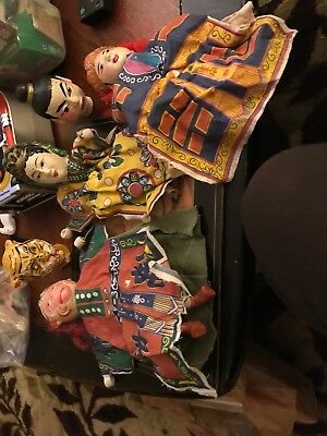 Antique Ornate Asian Hand Crafted Taiwanese Marionette Puppet Dolls Lot Of 5