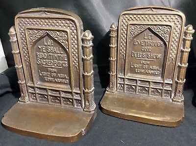 """Antique Bradley Hubbard Bookends Cast Metal HEAVY! """"Light of Asia"""" Edward Arnold"""