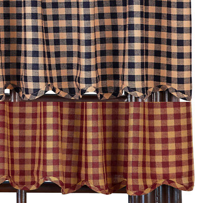 Check Scalloped Country Curtain Valance Navy or Burgundy Available