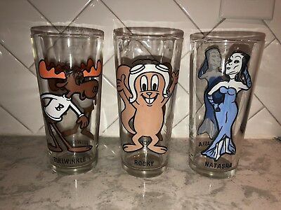 Vintage Holly Farms Chicken Drinking Glasses Rocky Bullwinkle & Natasha-1975