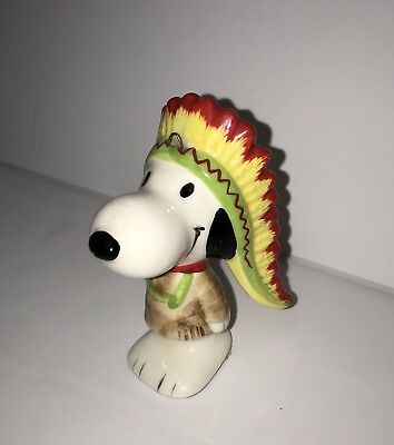 Vintage Snoopy Native American Indian Chief Christmas Tree Ornament Peanuts 1966