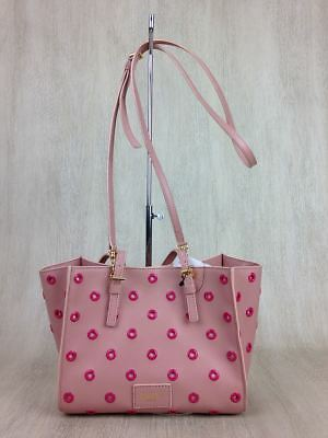 1a5f646a1 VALENTINO MUTED PINK Leather Beaded Rhinestone Payette Flower Tote ...
