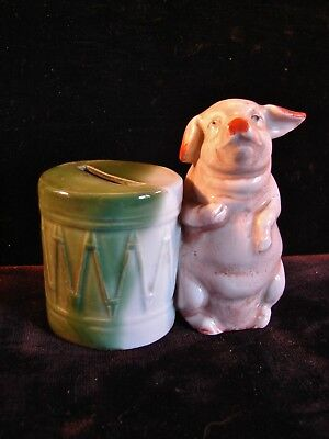 Antique Germany Porcelain Pink Pig with Green Drum Coin or Blade Bank