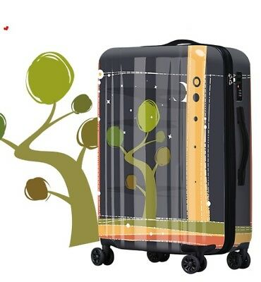 E545 Lock Universal Wheel Black Abstract Travel Suitcase Luggage 24 Inches W