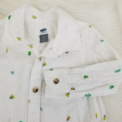 Old Navy Boys Shirt Size 2T White Bugs Beetle Print Long Sleeve Button Down 1395