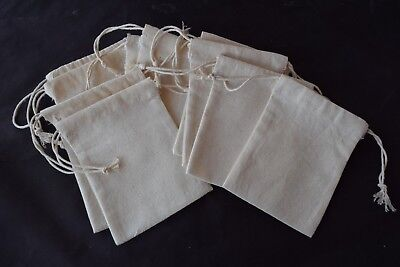 10 x small Calico drawstring bags Handcrafted in Australia approx 8 cm x 11 cm