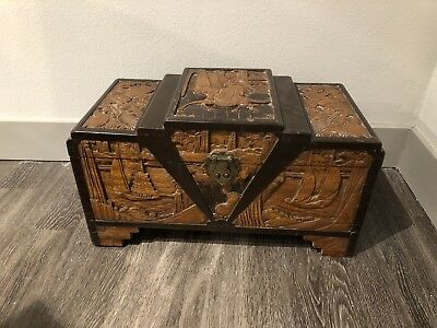 Antique Oriental Camphor Wood Carved Chest /trunk