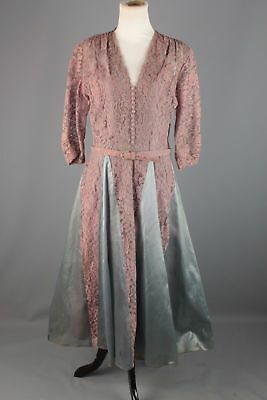 Unique TRUE Vintage Mauve & Gray Lace Mid-Century Retro Dress 1940s 1950s L 12