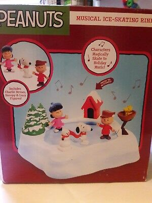 Peanuts Musical Ice Skating Rink Ice Skating Pond Charlie Brown,Lucy,Snoopy, NEW
