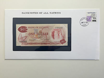 Banknotes of All Nations – Guyana one dollar $1 UNC