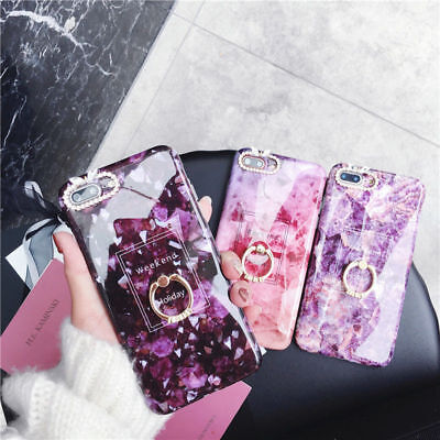 Crystal Marble Diamond Ring Holder Phone Case Cover For iPhone 6 6s 7 8 Plus X
