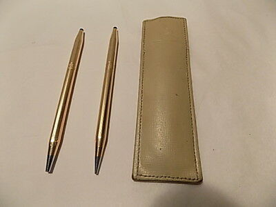 Vintage Cross Roses Ball Pen and Pencil set, 14 k gold filled. Leather Pen Purse