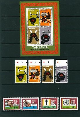 Tanzania 1978 & 1982. Sets of stamps. Road Safety & Discovery of T.B. Mint.