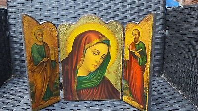 ANTIQUE TRIPTYCH ICON 19 C ,Our Lady ,Mother of God, Russian/Greek