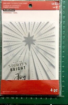 Recollections 2 Stamps & 2 Emboss Fold ~Christmas Noel Spirits Bright 565265
