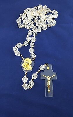 Large Wall Hanging Crystal Glass Rosary Beads with Crucifix