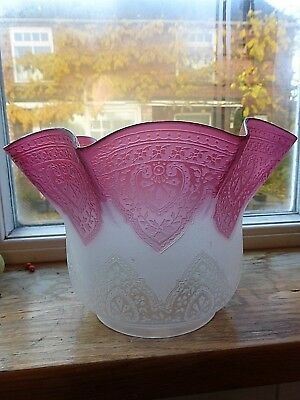 Superb Antique Cameo Cut Cranberry Glass Duplex Oil Lamp Shade