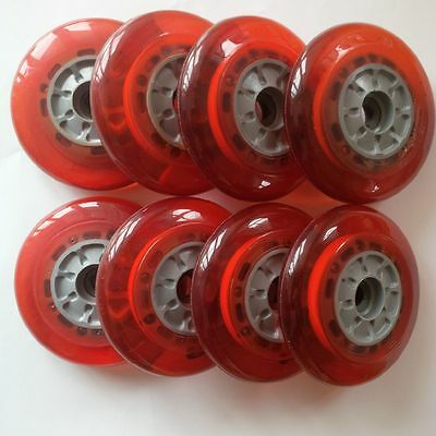 8  ROLLEN MIT **LED** in rot, 100mm 82A KICKBOARD SCOOTER INLINER