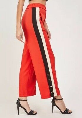 Womens Ladies Wide Leg Stripe Side Split Button Popper Trousers Size 12 c8db5d16a58