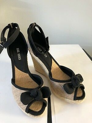 0fcbe33d545d2b Ladies Girls Summer Wedge Wedges Sandles Black Bow Toe Heel Shoes Sizes 4 5  6 7